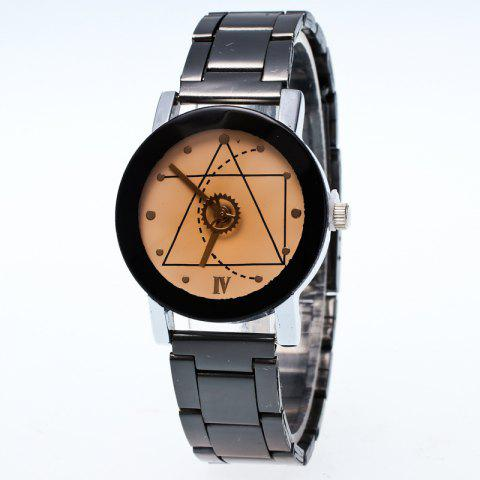 Gears Second Hand Geometric Pattern Quartz Couple Watch - WHITE MALE