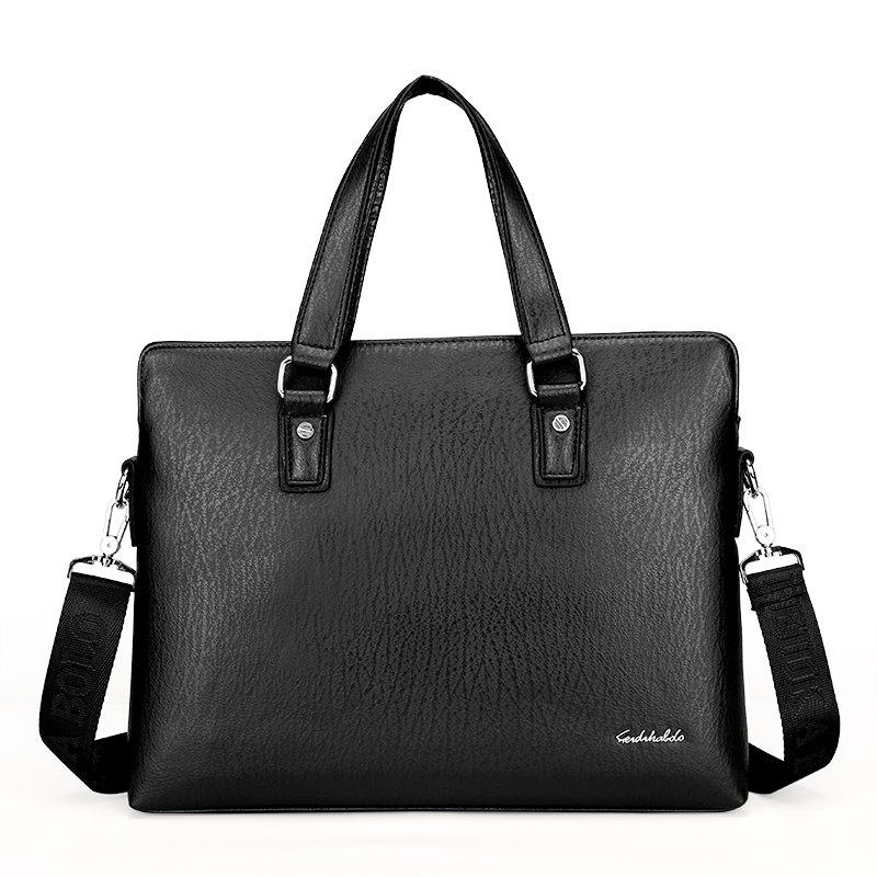 New Casual Fashion Hand-shoulder Diagonal Cross-section Briefcase Male - BLACK