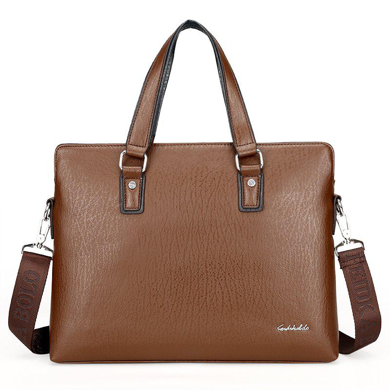 New Casual Fashion Hand-shoulder Diagonal Cross-section Briefcase Male - BROWN