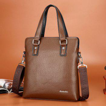 New Casual Fashion Portable Shoulder Diagonal Vertical Briefcase Male - BROWN