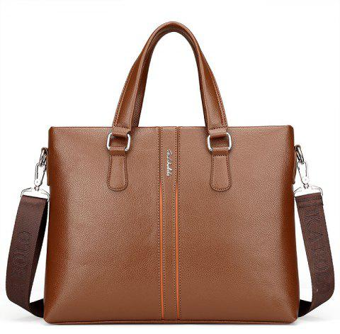 Male Shoulder Messenger Casual Briefcase - BROWN