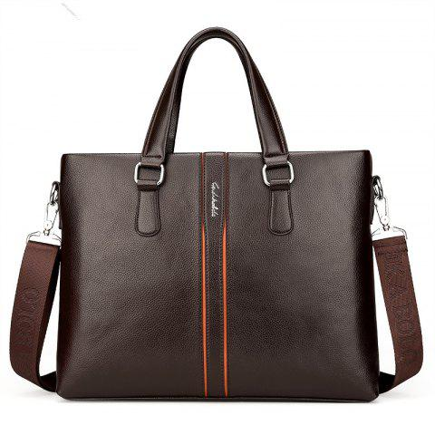 Male Shoulder Messenger Casual Briefcase - DEEP BROWN