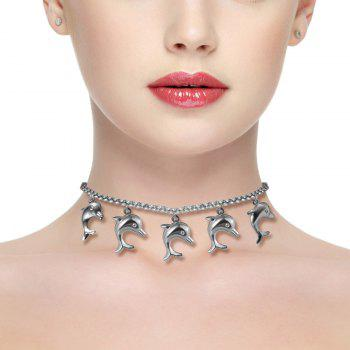 Luxury Stainless Steel Jewelry Necklace Cute Dolphin Choker Charm Chain Birthday Gifts N50154 - STAINLESS STEEL