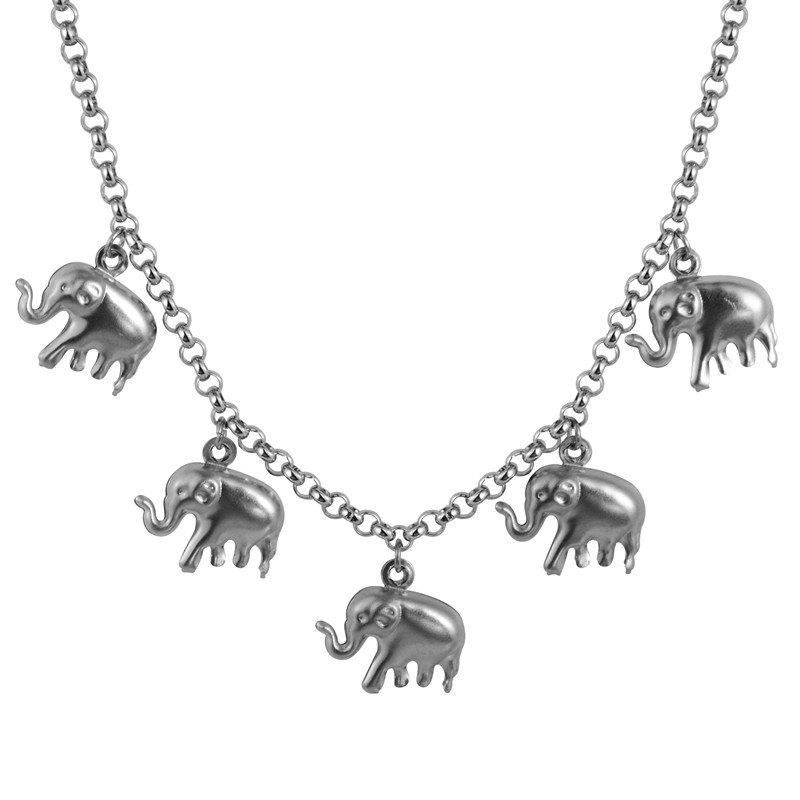 New Stainless Steel Elephant Jewelry Choker Necklace Trendy Lucky Charm Chain Gifts N50156 - STAINLESS STEEL