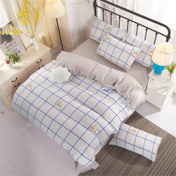 Warm and Modern Style Bedding Set - WHITE GREY QUEEN