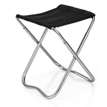 Small Portable Stainless Steel Fishing Seat Travel Barbecue Beach Backpacking Outdoor - BLACK