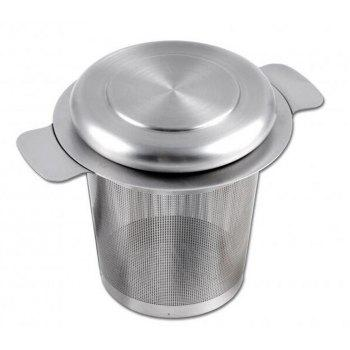 Tea Strainer Stainless Steel Water Filter with Double Handles for Hanging on Teapots Mugs - SILIVER