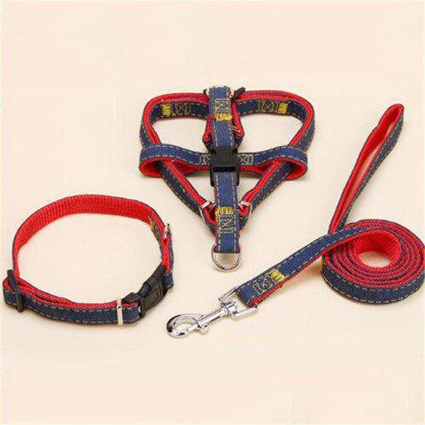 3PCS Pet Cowboy Chest Strap Collar for Traction Rope - RED SIZE L