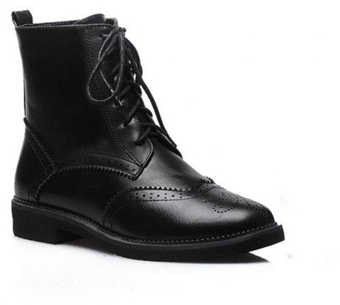Women Shoes Low Heel Lace-up Combat Boots - BLACK 43