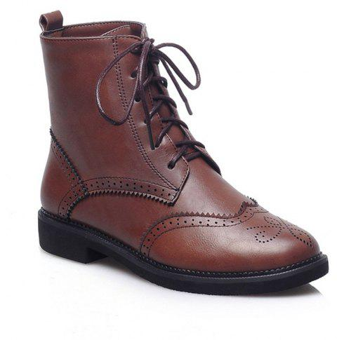 Women Shoes Low Heel Lace-up Combat Boots - BROWN 38