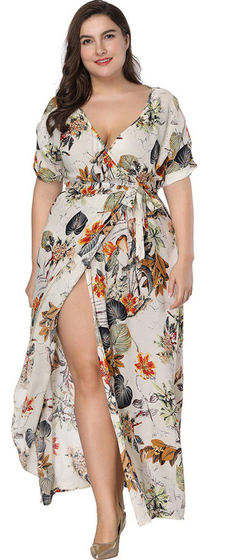 Plus Size Dress Women Print Deep-V Ruffles Maxi Dress - APRICOT 7XL