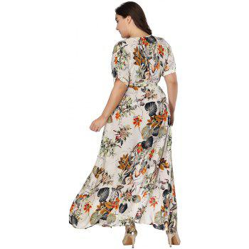 Plus Size Dress Women Print Deep-V Ruffles Maxi Dress - APRICOT 5XL