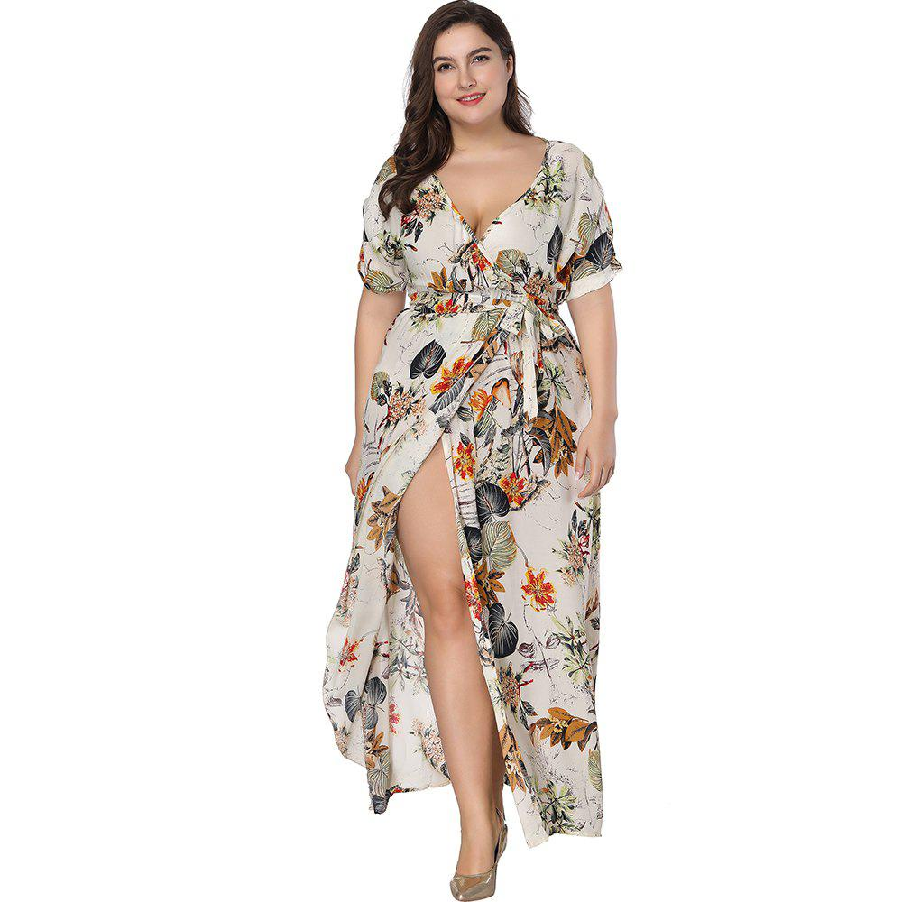 Plus Size Dress Women Print Deep-V Ruffles Maxi Dress - APRICOT 3XL