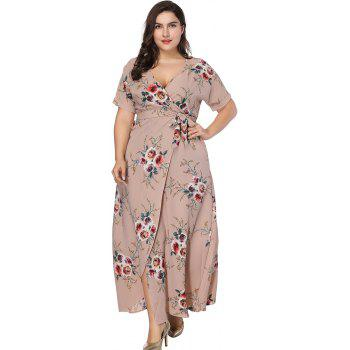 V Neck Plus Size Dress Women's Printed Belt Maxi Dress - KHAKI ROSE 4XL
