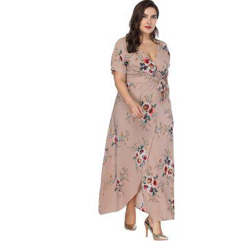 V Neck Plus Size Dress Women's Printed Belt Maxi Dress - KHAKI ROSE XL