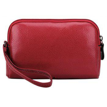 Ladies New Fashion Zippers Wallet Clutch Small Handbag for Women - RED HORIZONTAL