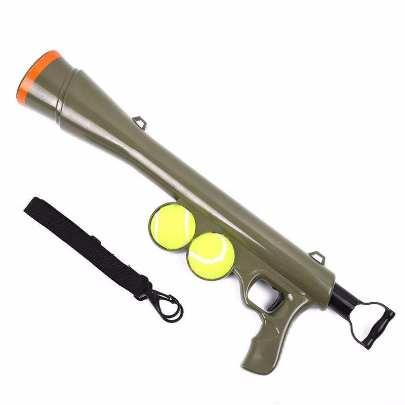 Dog Tennis Ball Toy Launcher for Pet Training Throw Fetch Play Outdoor - GREEN