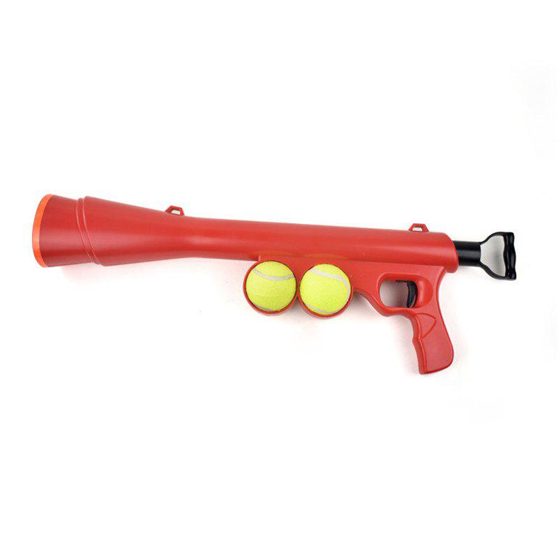 Dog Tennis Ball Toy Launcher for Pet Training Throw Fetch Play Outdoor - RED