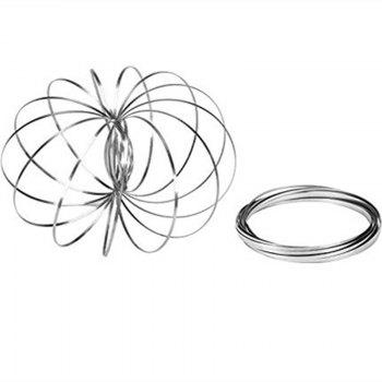 DE Kinetic Educational Spring Toy - Multi Sensory Interactive 3D Shaped Flow Ring - SILVER