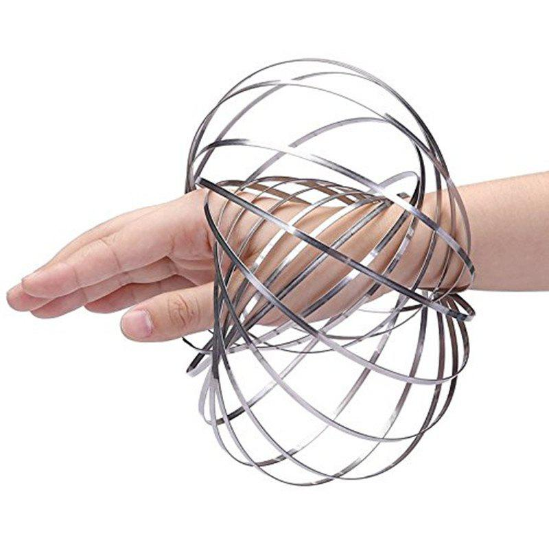 DE Kinetic Educational Spring Toy Sensory Interactive 3D Shaped Flow Ring - SILVER