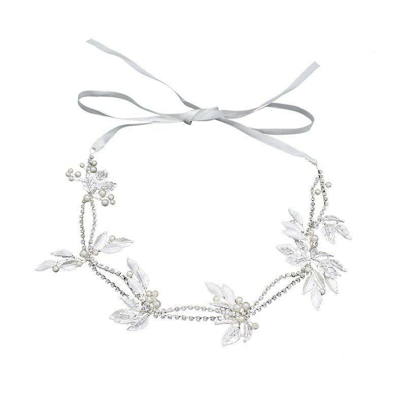 Wedding Bride White Leaf Crystal Headband Hair Jewelry - WHITE