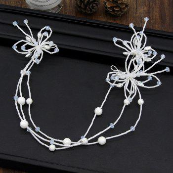White Butterfly Handmade Headband Hair Jewelry for Wedding Bride - WHITE