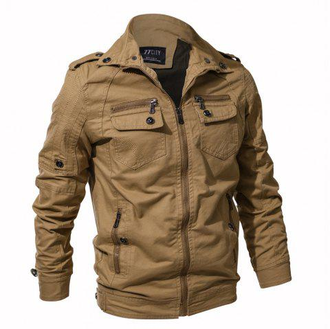 2018 New Spring and Autumn multi-pocket Military Equipment Plus Size Jacket - KHAKI M
