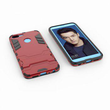 For HUAWEI Honor 9 Lite Case Hybrid Armor TPU + PC Case with Kickstand Holder Cover - RED