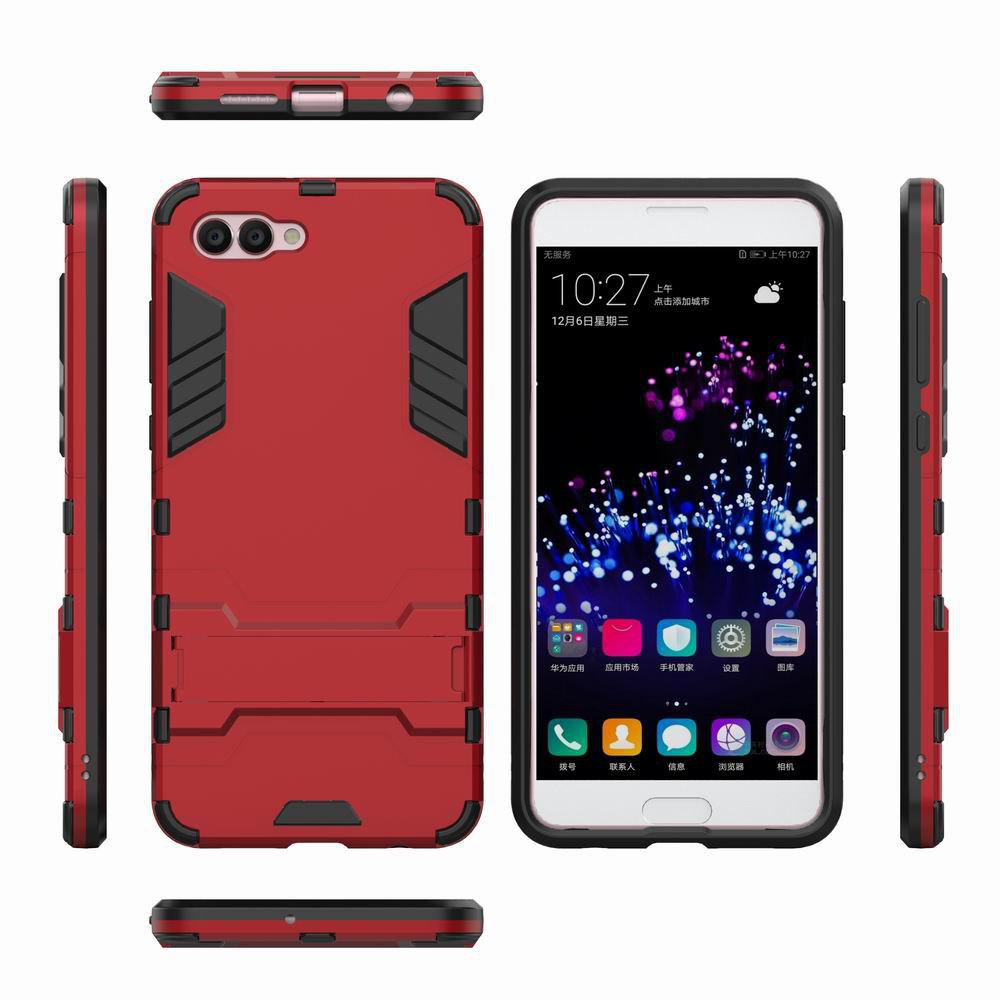For HUAWEI Nova 2S Case Hybrid Armor TPU + PC Case with Kickstand Holder Cover - RED