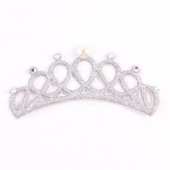 New Lovely Baby Pearl Crystal Crown Headband Stretchable Hair Band Kids Headwear Accessories Photo Prop - SILVER