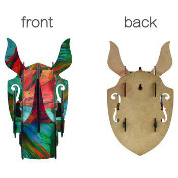 Wall Decor 3D Puzzle Wooden Rhino Hanging Home Decoration DIY Wall Sticker Animal Sculpture Craft - COLOR