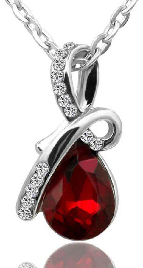 Fashionable Drop Jewel Short Style Necklace - RED