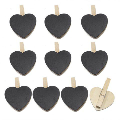 140102 Heart Shaped Small Blackboard Clips Creative Wood Crafts Home Decoration DIY Accessories (10pcs) - BLACK