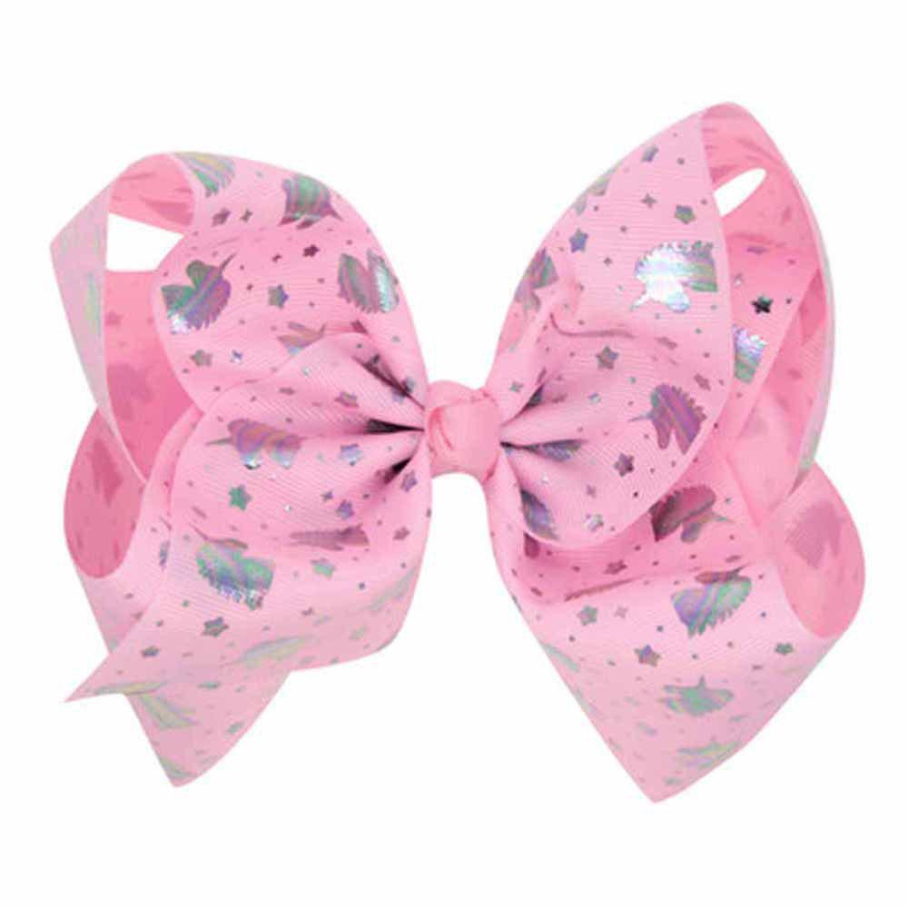 Children Large Bow Hairpin Unicorn Fancy Girls Colord Hair Accessories - PINK 1PC
