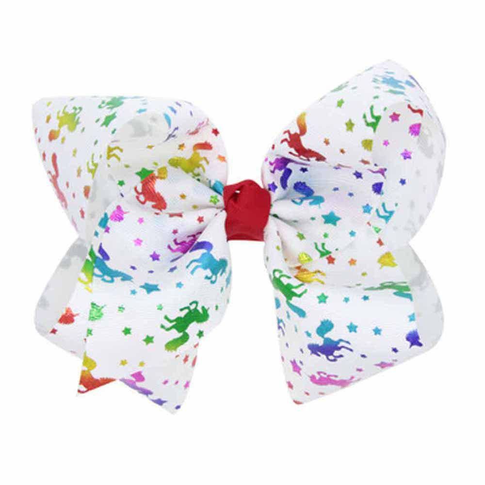 Children Large Bow Hairpin Unicorn Fancy Girls Colord Hair Accessories - WHITEB 1PC