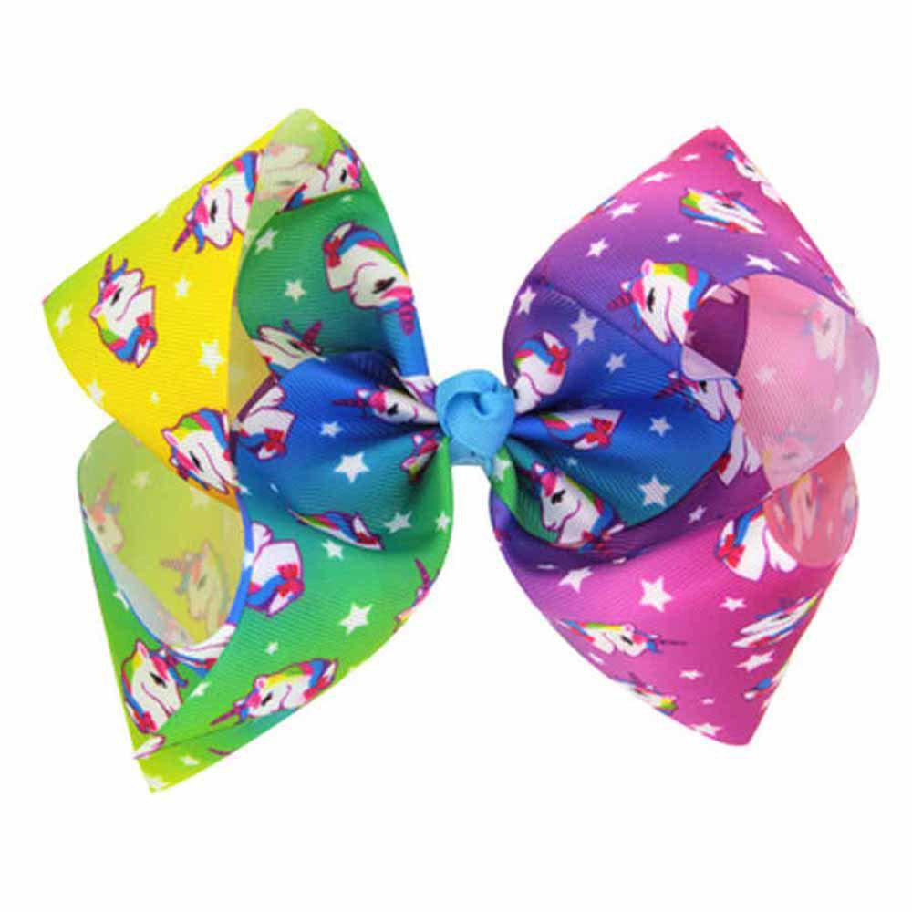 Children Large Bow Hairpin Unicorn Fancy Girls Colord Hair Accessories - COLORFUL 1PC