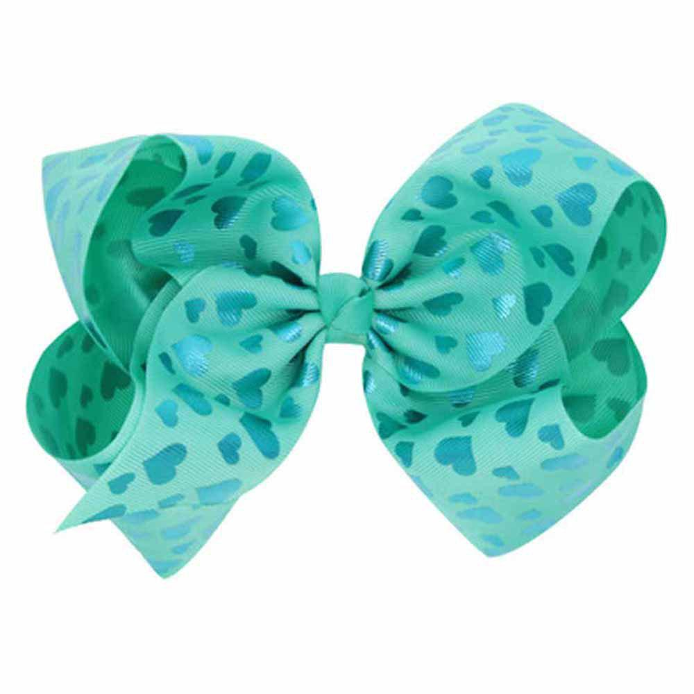 Children Large Bow Hairpin Unicorn Fancy Girls Colord Hair Accessories - GREEN 1PC