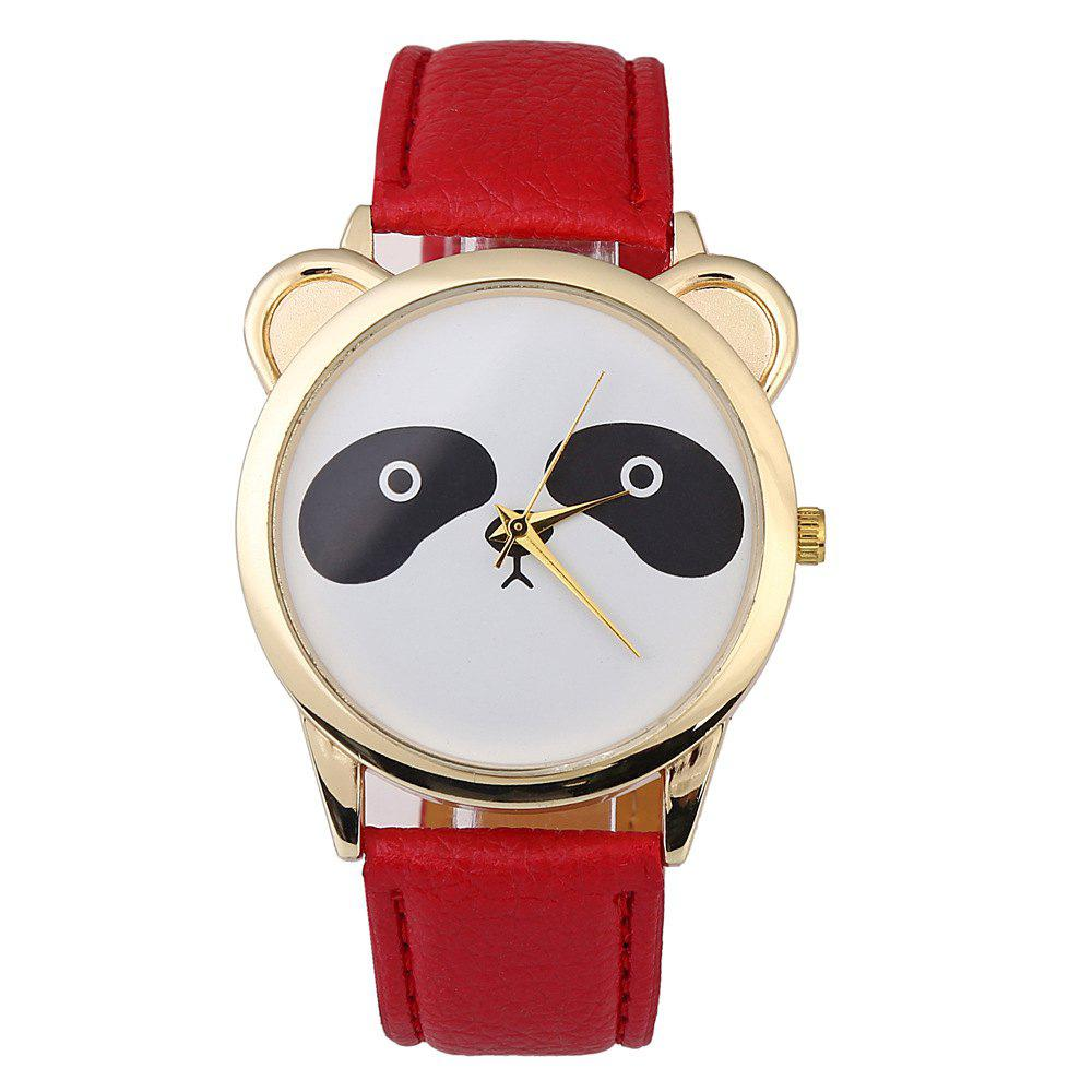 Cartoon Quartz Panda Fashion Watch - RED