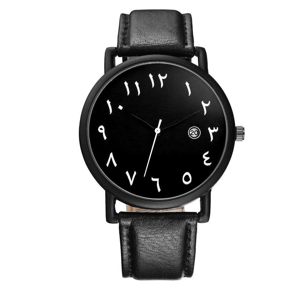 Ladies Leather Fashion Waterproof Watch - BLACK