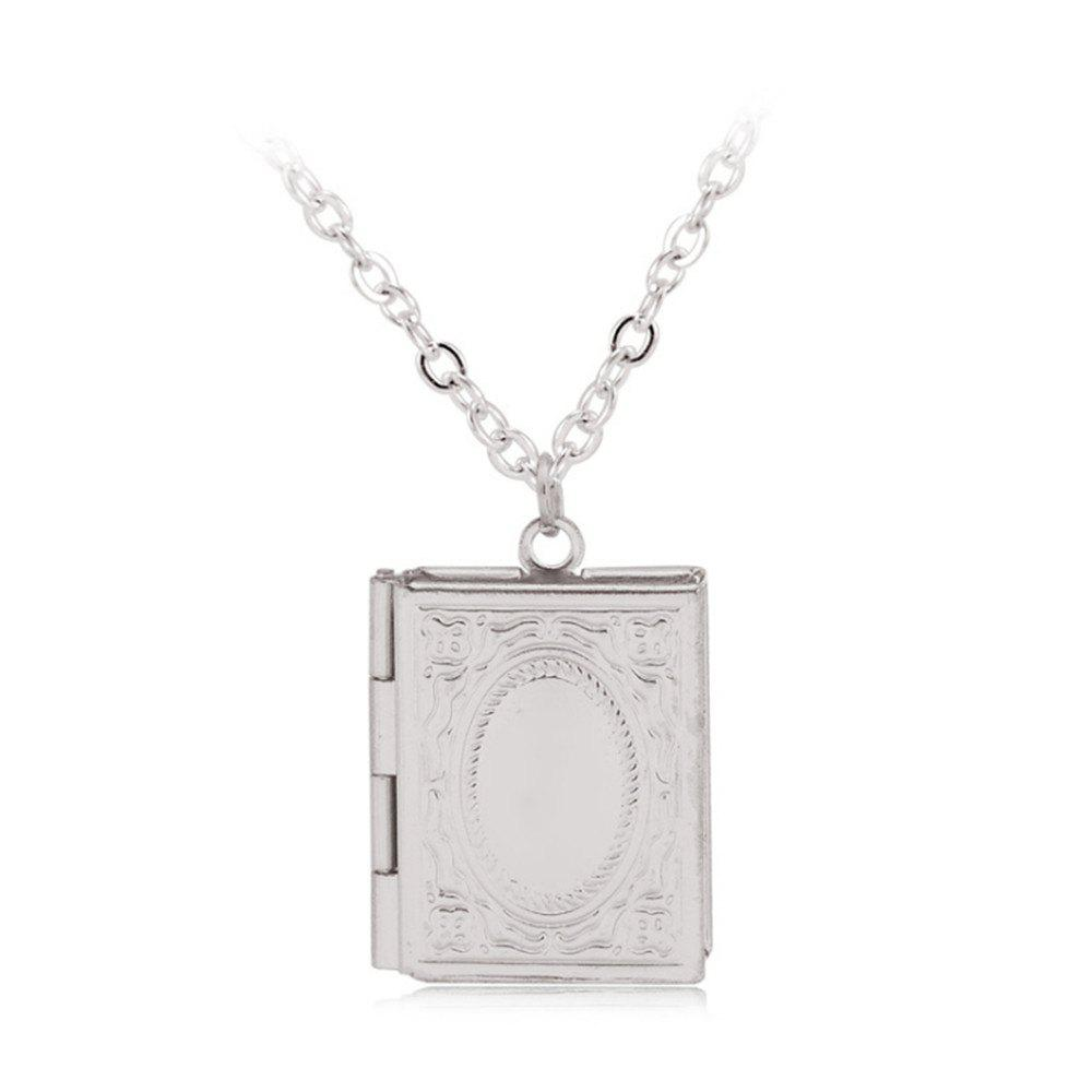 Simple Can Put Pictures of Pendants Carved Necklace - SILVER