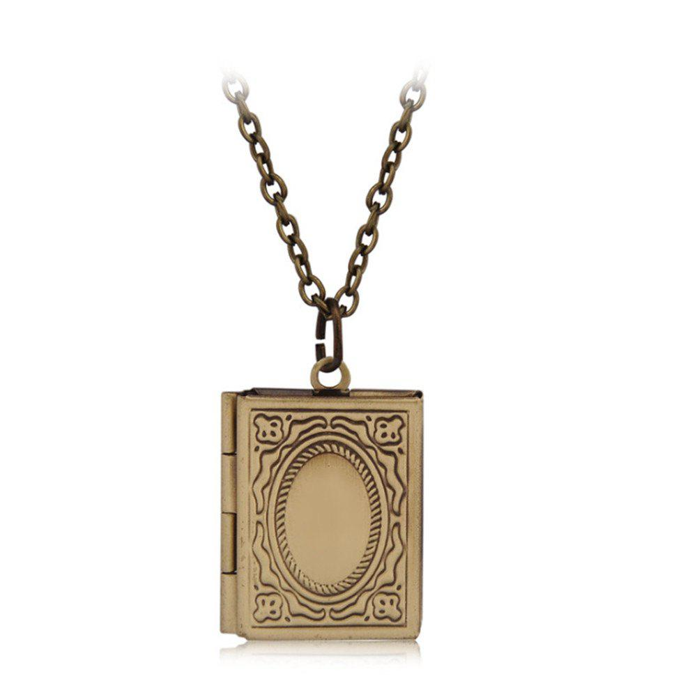Simple Can Put Pictures of Pendants Carved Necklace - BRONZE COLORED