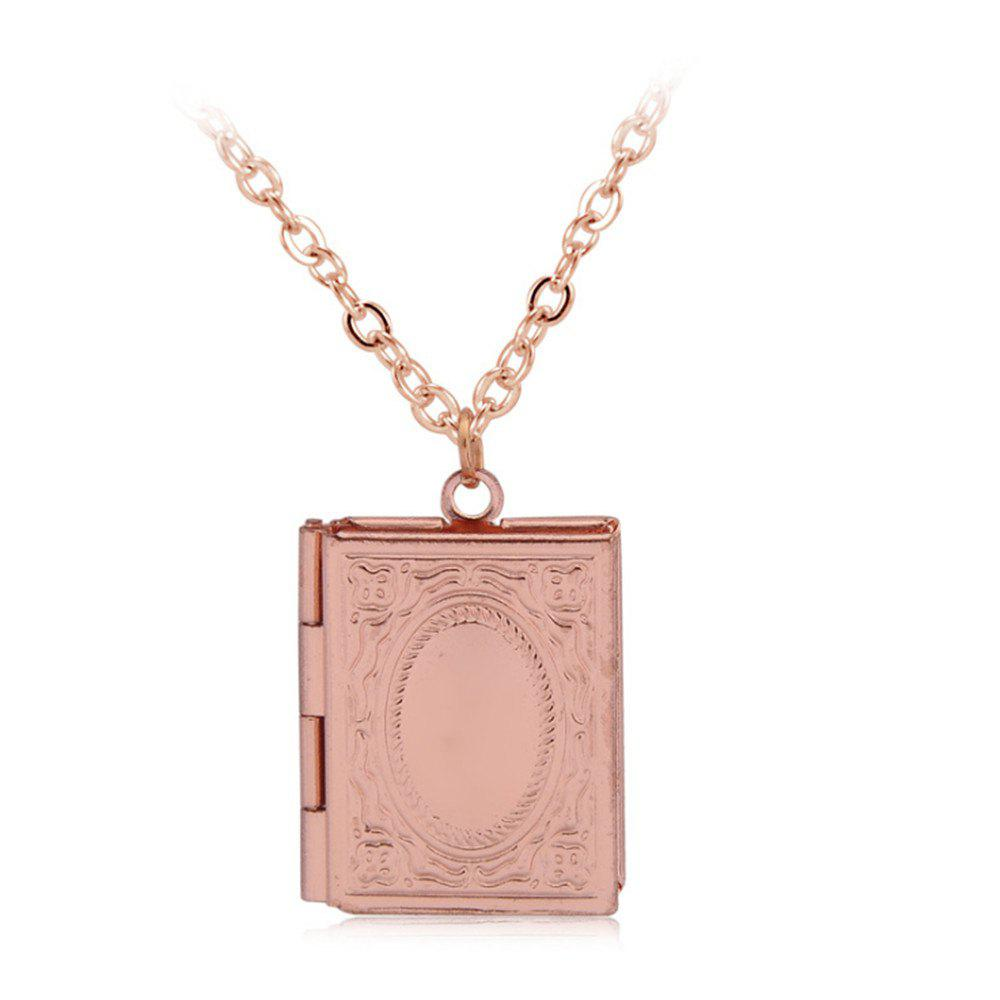 Simple Can Put Pictures of Pendants Carved Necklace - ROSE GOLD