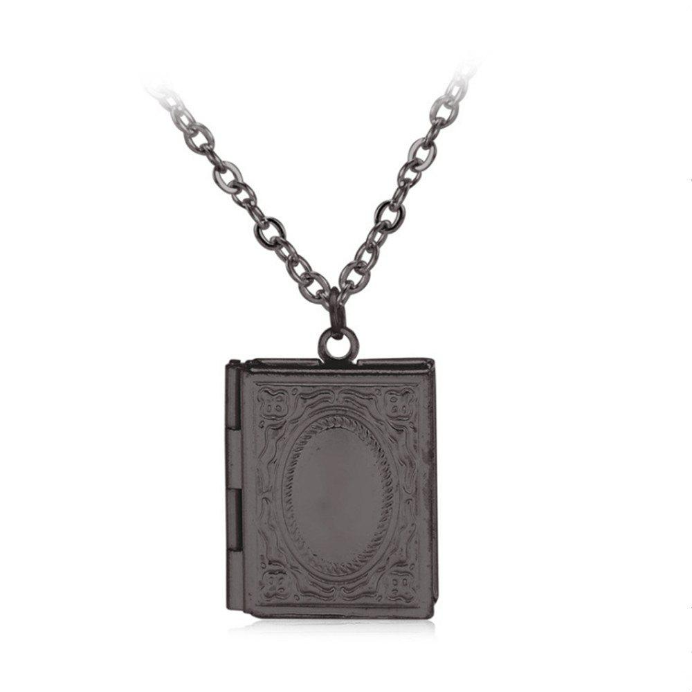Simple Can Put Pictures of Pendants Carved Necklace - BLACK