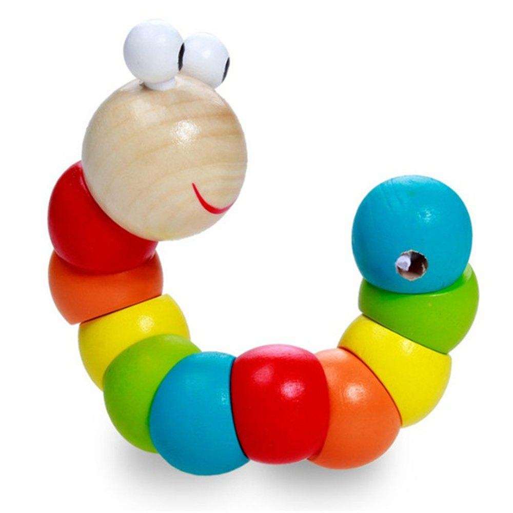 Wooden Color Variant Twisted Worm Animal Doll Caterpillar Children Educational Toys - COLORMIX