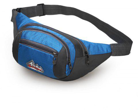 Nylon Multi-layer Sports Waist Bag for Man and Women - BLUE HORIZONTAL