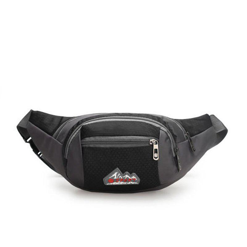 Nylon Multi-layer Sports Waist Bag for Man and Women - BLACK HORIZONTAL