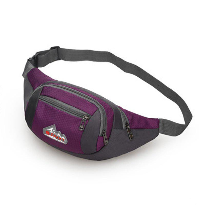 Nylon Multi-layer Sports Waist Bag for Man and Women - PURPLE HORIZONTAL