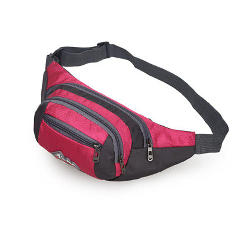 Nylon Multi-layer Sports Waist Bag for Man and Women - ROSE RED HORIZONTAL