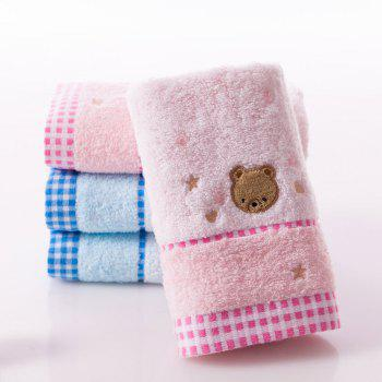 Soft Fabric Towel Embroidered With Satin Cotton Washcloth Absorbent Square Towel Home Textile - PINK