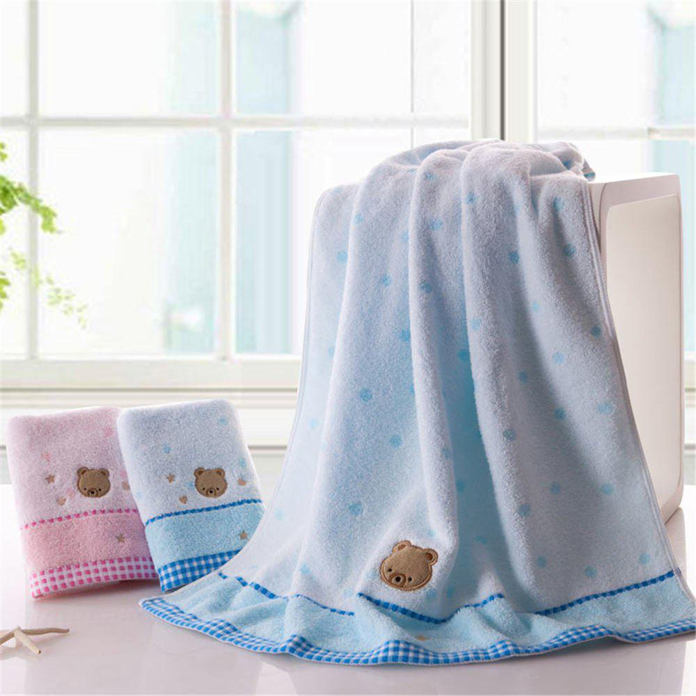 Soft Fabric Towel Embroidered With Satin Cotton Washcloth Absorbent Bath Towel Home Textile - BLUE
